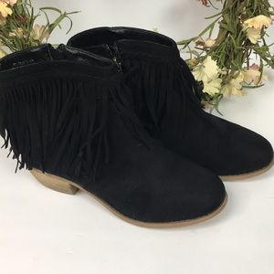 BELLA MARIE Black Suede Fringed Boots